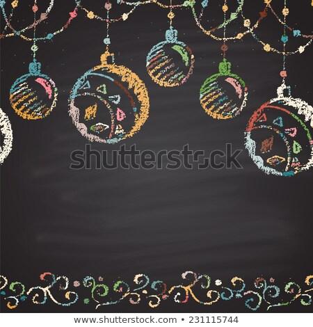 мелом окрашенный иллюстрация Рождества мяча Сток-фото © rommeo79