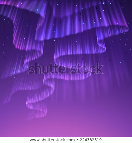 high detailed illustration of polar lights on the starry sky eps 10 contains transparency mesh use stock photo © rommeo79