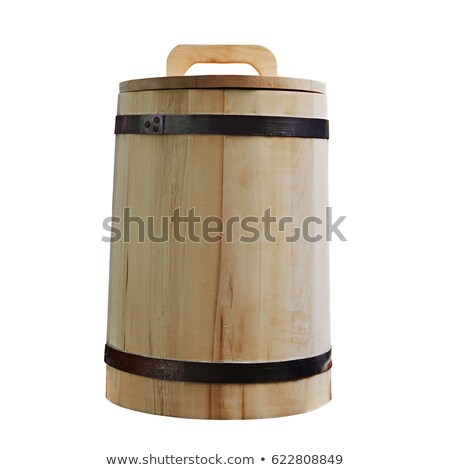 Closed wooden tub. Wooden bucket with lid Stock photo © orensila