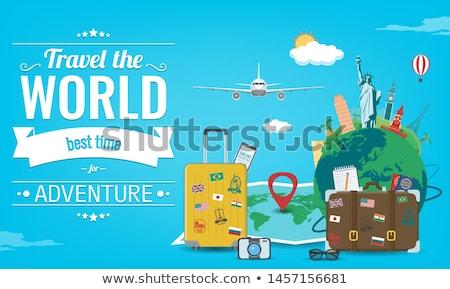 Repülőgép utazás körül földgömb illusztráció fekete Stock fotó © bluering