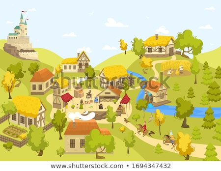 Dorp agrarisch landschap dominant Stockfoto © hraska