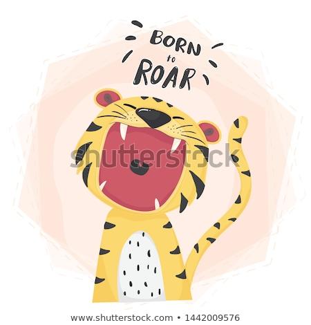 Aranyos tigris illusztráció fa vicces állat Stock fotó © adrenalina