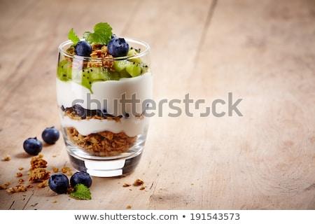 Müzli desszert egészséges étel finom szeder fa Stock fotó © racoolstudio