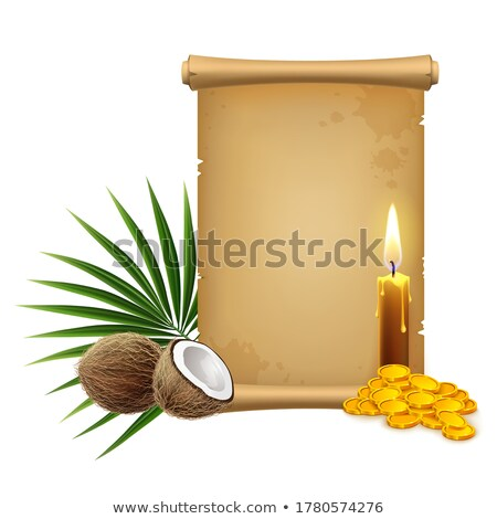 old paper scroll and tropical coconut palms stock photo © loopall