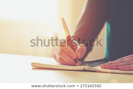 Sprzężenie zwrotne wiadomość notebooka kawy biuro pióro Zdjęcia stock © fuzzbones0