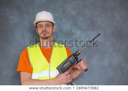 electricista · perforación · escalera · perforación · techo · construcción - foto stock © goir