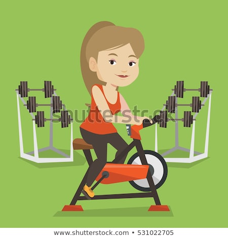 man riding stationary bicycle vector illustration stock photo © rastudio