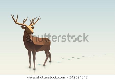 Karácsony szarvas alacsony árnyék illusztráció vektor Stock fotó © -Baks-