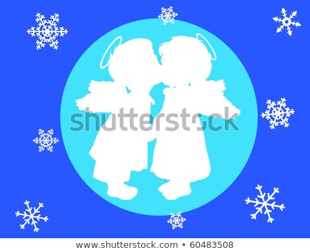 Christmas Angel 2 Circles Blue Snowflakes Stock photo © limbi007