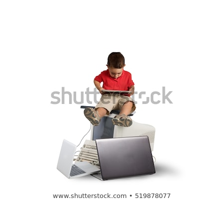 Szkodliwy technologii wzrostu dziecko posiedzenia Zdjęcia stock © alphaspirit