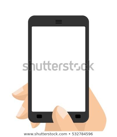 teléfono · móvil · anuncio · Foto · mujer · sonriente - foto stock © maryvalery