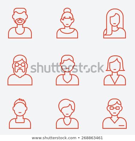 Personas caras delgado línea vector iconos Foto stock © vectorikart