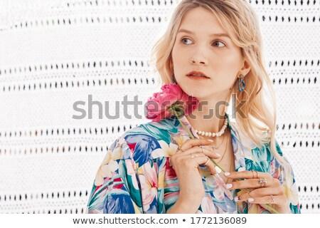 Belo senhora flor penteado olhando quadro Foto stock © deandrobot