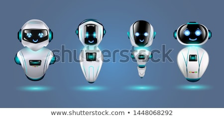 bonitinho · robô · cyborg · 3d · render · assinar - foto stock © kjpargeter