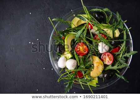 tomaat · avocado · mozzarella · salade · olijfolie · zwarte - stockfoto © monkey_business
