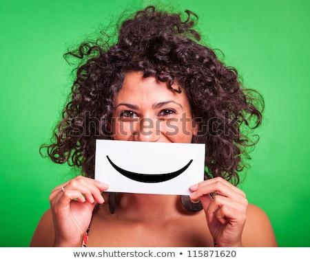 Gelukkig vrouw emoticon toevallig vrolijk Stockfoto © stevanovicigor