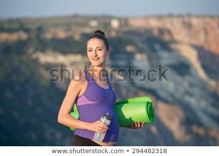 hermosa · mujer · embarazada · relajante · parque · yoga · hierba - foto stock © dashapetrenko