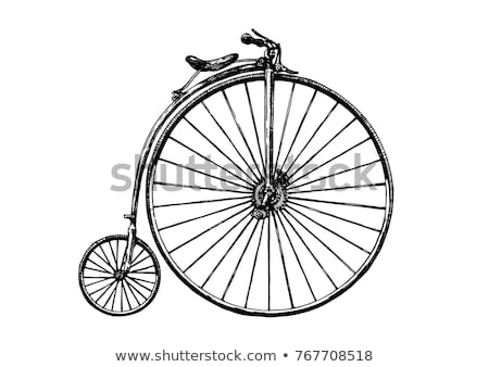 Penny-farthing or high wheel bicycle  silhouette  isolated on wh Stock photo © NikoDzhi