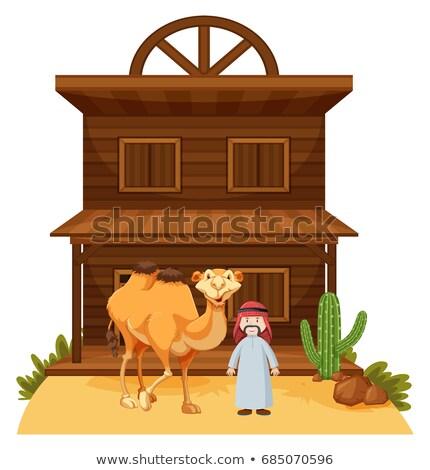 Arab man kameel westerse stijl gebouw Stockfoto © bluering