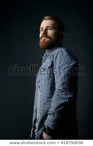 Stock fotó: Töprengő · piros · szakállas · férfi · stúdió · portré