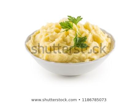 Aardappel achtergrond keuken groene koken lepel Stockfoto © yelenayemchuk
