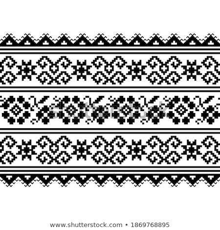 芸術 刺繍 パターン 印刷 黒白 民族 ストックフォト © RedKoala