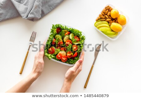 healthy food and hands with kitchen flatware  Stock photo © ssuaphoto