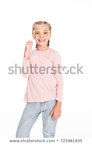 child with cardboard carnival eyeglasses Stock photo © LightFieldStudios