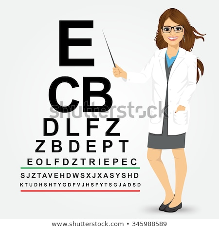 Indian ophthalmologist pointing at eye chart. Stock photo © RAStudio