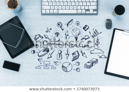 mobile marketing concept on clipboard 3d stock photo © tashatuvango