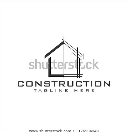 Tulajdon építkezés logoterv ingatlan épület férfi Stock fotó © Ggs