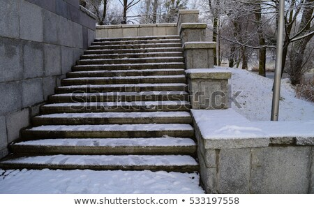 Stock photo: First snow in the city park  with a bridge on a sunny day