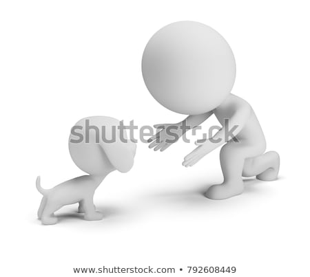 Foto stock: 3d Small People - Communication With The Pet