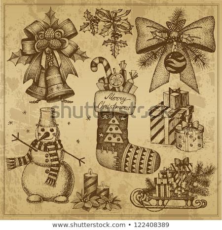 christmas · sneeuwpop · hoed · cute - stockfoto © sonya_illustrations