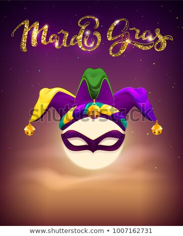 invitation to mardi gras party full moon mask and clown cap symbols holiday mardi gras fatty tuesd stock photo © orensila