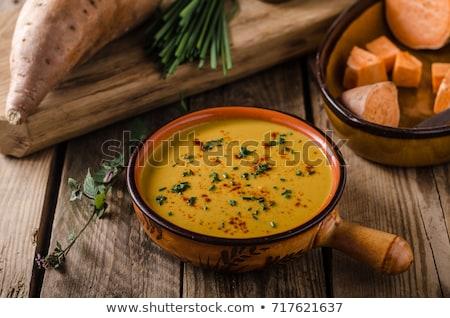 Eigengemaakt zoete aardappel soep paar kommen organisch Stockfoto © mpessaris