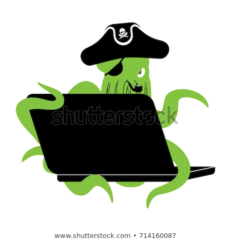 Web pirate Octopus and laptop. poulpe internet hacker and PC. de Stock photo © popaukropa