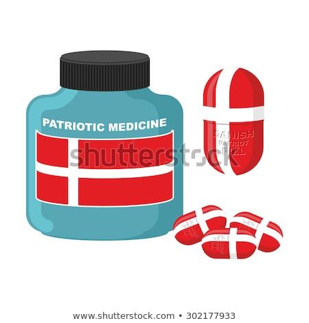 Vaderlandslievend pil Denemarken capsule vlag medische Stockfoto © popaukropa