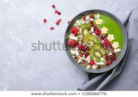 Zöld smoothie tál gyümölcs háttér friss kókusz Stock fotó © M-studio