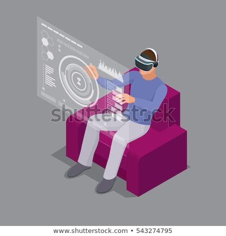 Digital composite of man with an augmented reality simulator against close-up of pixelated gray 3d m Stock photo © wavebreak_media