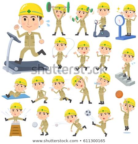 Casque travailleur de la construction sport exercice Photo stock © toyotoyo