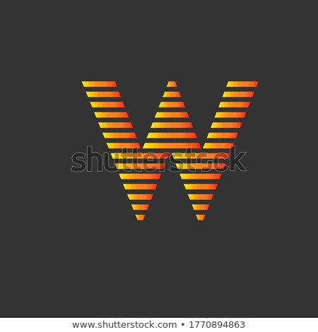 Stock photo: Grey and Orange Letter W Icon with Horizontal Stripes Vector Ill