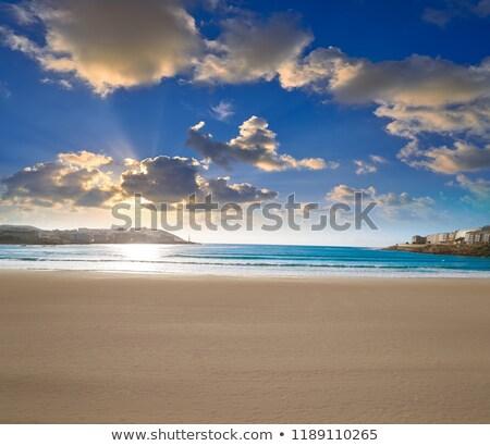 Playa galicia España sol puesta de sol Foto stock © lunamarina