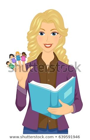Meisje leraar verhalenboek vinger illustratie Stockfoto © lenm