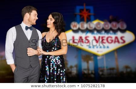 Feliz Pareja fiesta Las Vegas signo noche Foto stock © dolgachov