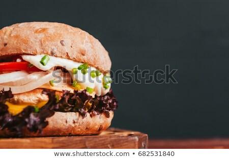 быстрого питания сэндвич гамбургер вкусный закуска текста Сток-фото © robuart