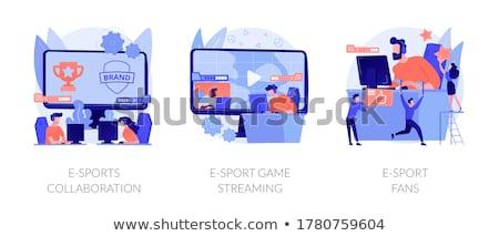 Fanów dwa sportu gracze komputerów Zdjęcia stock © RAStudio