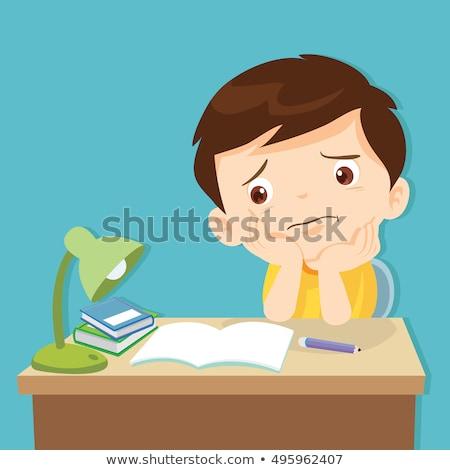 Karikatur Mädchen gelangweilt Illustration schauen Kind Stock foto © cthoman