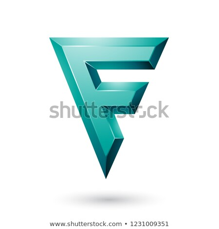 persian green glossy geometrical letter f vector illustration stock photo © cidepix