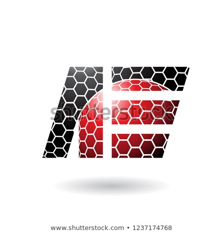 Stock photo: Red and Black Letter E with Honeycomb Pattern Vector Illustratio